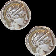 Handsome Tetradrachm Style Athena Cufflinks European 800 Silver