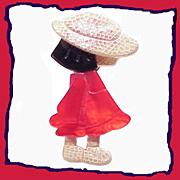 Precious Vintage Lea Stein Poulbot Girl Cellulose Acetate Pin