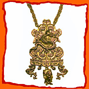 Dragons and Buddha Bohemian Breastplate Necklace Vintage 1970s