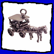 Horse Drawn Carriage Charm Sterling Silver Large 3D Exceptional Detailing