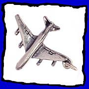 Jet Plane Charm Large 3D Sterling Silver Vintage 1960s