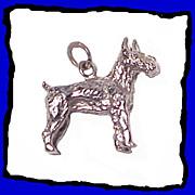 Terrier Dog Charm Sterling Silver 3D Vintage 1960s