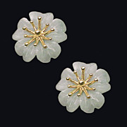 AZALEA 14K Gold and Pale Green Jade Earrings