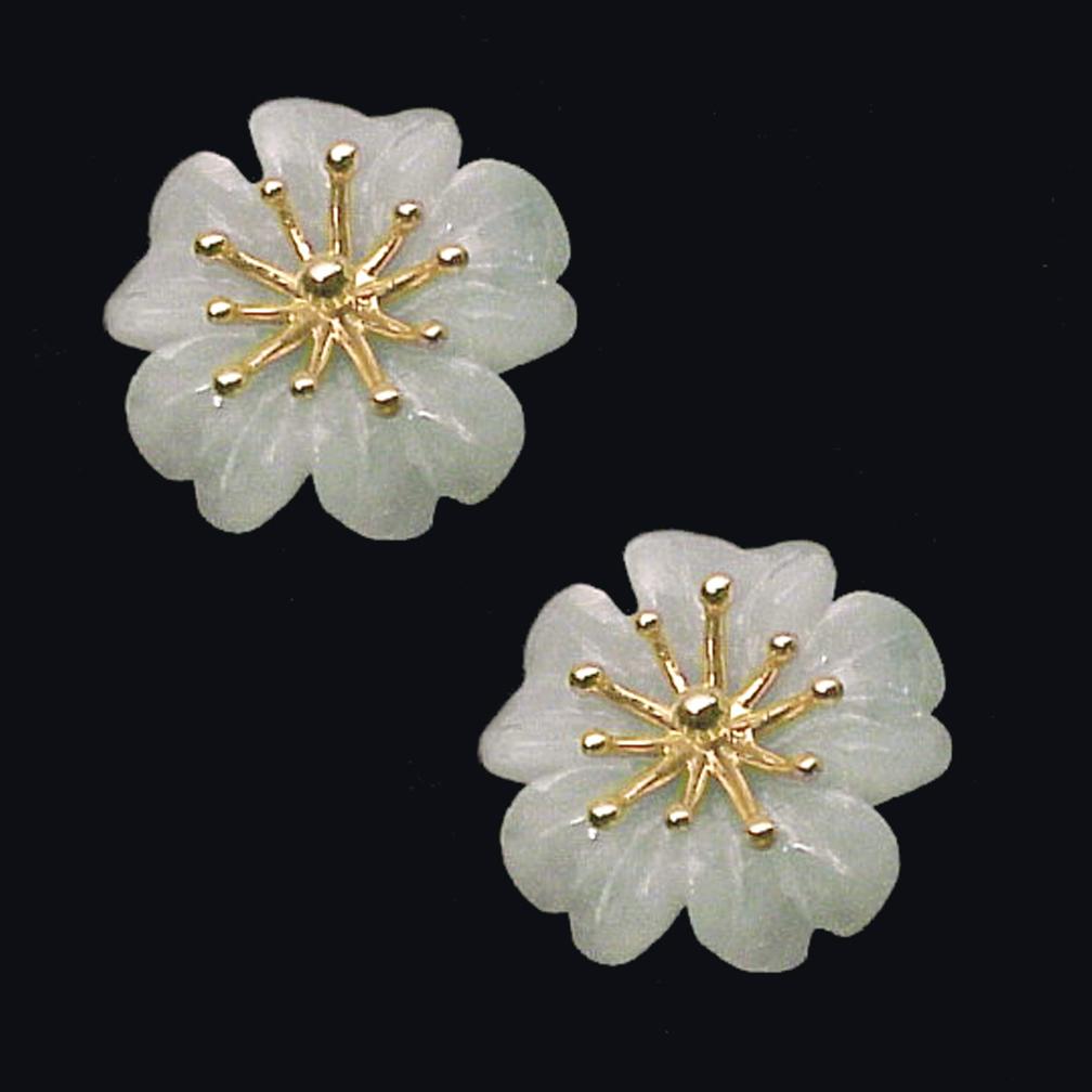 AZALEA 14K Gold and Pale Green Jade Earrings