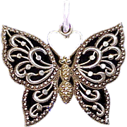 Large Sterling Silver and 10K Gold Filigree Butterfly Charm or Pendant