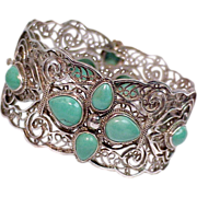 Chinese Turquoise Sterling Silver Arabesque Bracelet