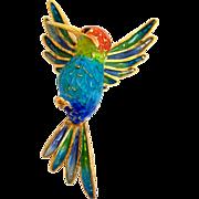 Plique A Jour Hummingbird 800 Silver Italian Brooch