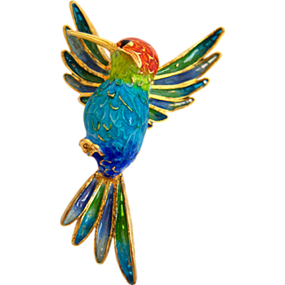 Plique A Jour Hummingbird Italian 800 Silver and Enamel Brooch
