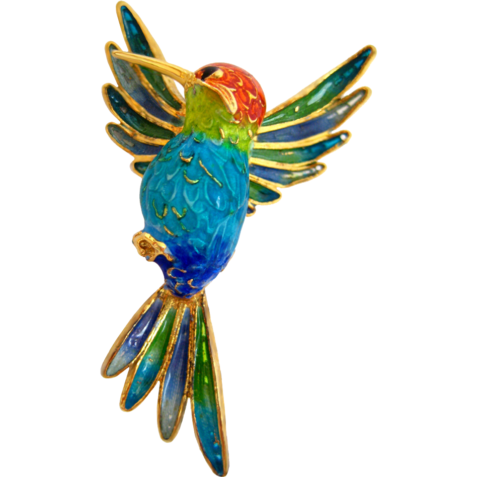Plique A Jour Hummingbird Italian 800 Silver and Enamel Brooch