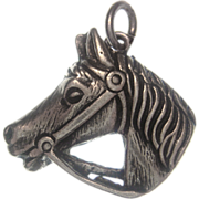 Exquisitely Detailed Bridled Horse Head Vintage 835 European Silver Charm