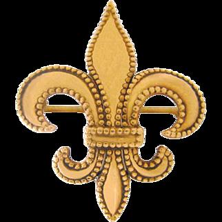 Exquisite Vintage 10K Gold Fleur De Lys Pin