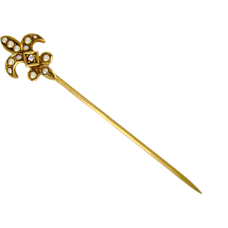 FLEUR DE LYS Stunning 14K Yellow Gold Seed Pearl Diamond Pin