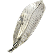 MING'S OF HONOLULU Vintage Sterling Silver Kokomalei Leaf Pin