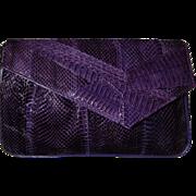 J RENEE Vintage Purple Snakeskin Shoulder Bag Clutch