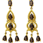 Breathtaking Classical Style Antiqued Gilt Sterling Silver Jeweled Chandelier Earrings