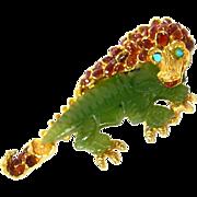SWOBODA Rare Magnificently Eclectic Semiprecious Stone Dragon Pin