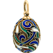 Exquisite Russian 14K Gold Gilt Sterling Silver Enamel Faberge Style Easter Egg Charm or Pendant