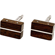 Rare Merle Boyer Mid-Century Modern Exotic Wood and Sterling Silver Cufflinks