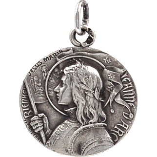 Rare Signed FP Lasserre Antique Jeanne D'Arc - Joan of Arc - 800 Silver Medal Pendant Charm