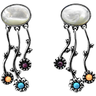 VERONICA DINE for Carolyn Pollack Stylized Flower Sterling Silver with Multi-Gemstone Drop Earrings