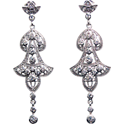 JENNA NICOLE Mesmerizing Egyptian Style Sterling Silver Swarovski Crystal Chandelier Wedding Earrings