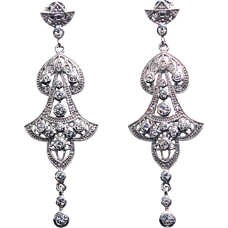 JENNA NICOLE Mesmerizing Egyptian Style Sterling Silver Swarovski Crystal Chandelier Wedding Earrings