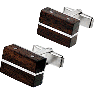 Mid-Century Modern Exotic Wood and Sterling Silver Cufflinks