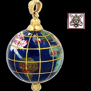 FABULOUS 14K Yellow Gold and Gemstone Inlay Large World Globe Pendant