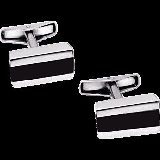 ALLAN ADLER Stunning Mid-Century Modern Ebony and Sterling Silver Cufflinks