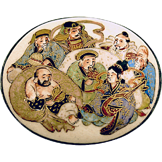 SEVEN GODS OF GOOD FORTUNE Late 19th Century Hand Painted Satsuma Pin
