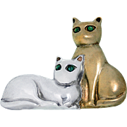 FABULOUS FELINES Gorham Sterling Silver and Vermeil Pendant and Pin