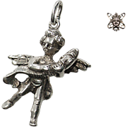 Mid-Century Putto with Dolphin Italian European Large 800 Silver Charm or Pendant