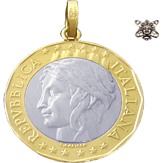 Italian 1000 Lire Coin Pendant with 14K Yellow Gold Bale