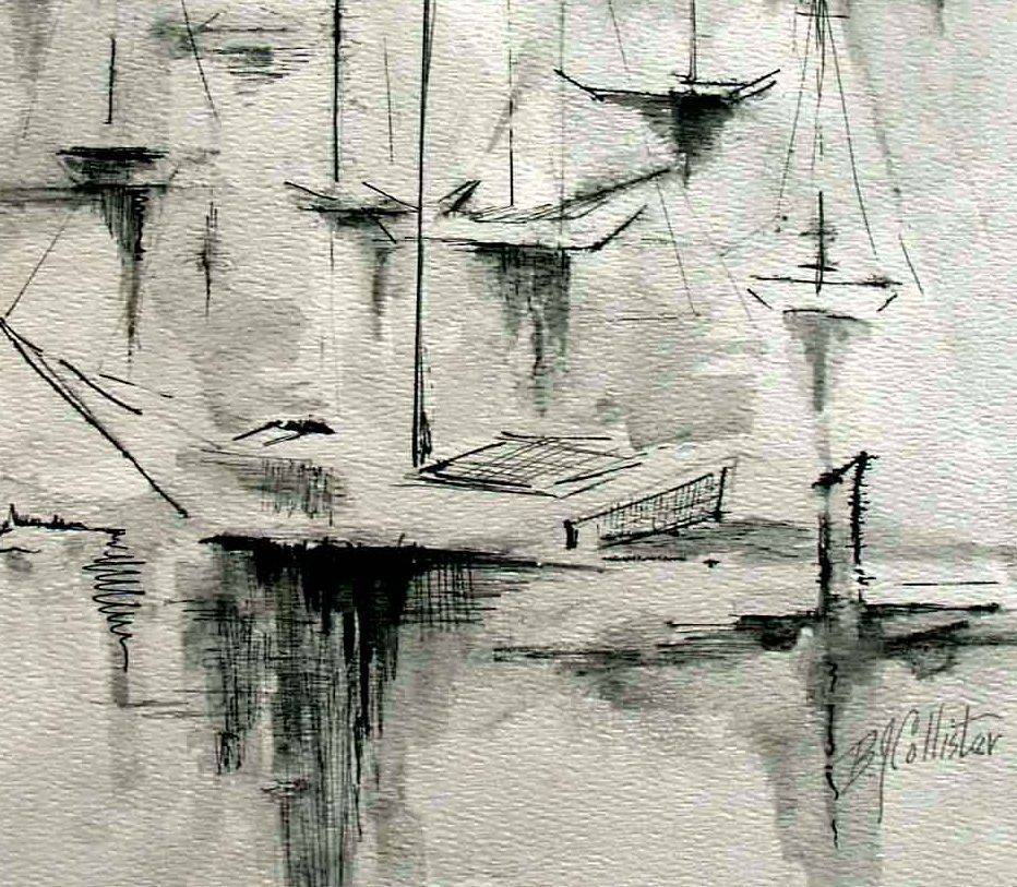 Original Artwork Water Media Pen Ink Sailboats Painting