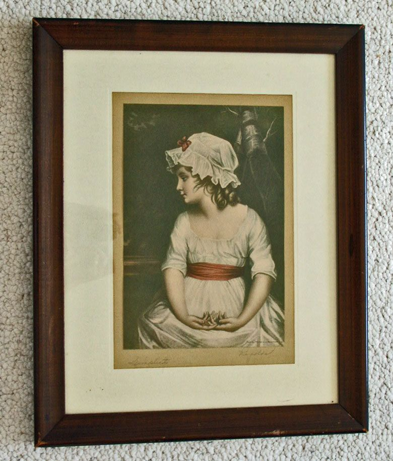 Old Framed Print Simplicity Signed Reynolds