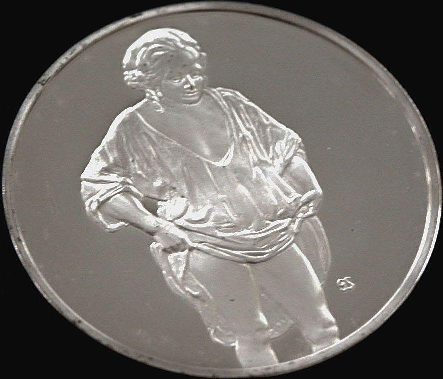 Silver Round Medallion Masterpiece Rembrandt Woman Bathing