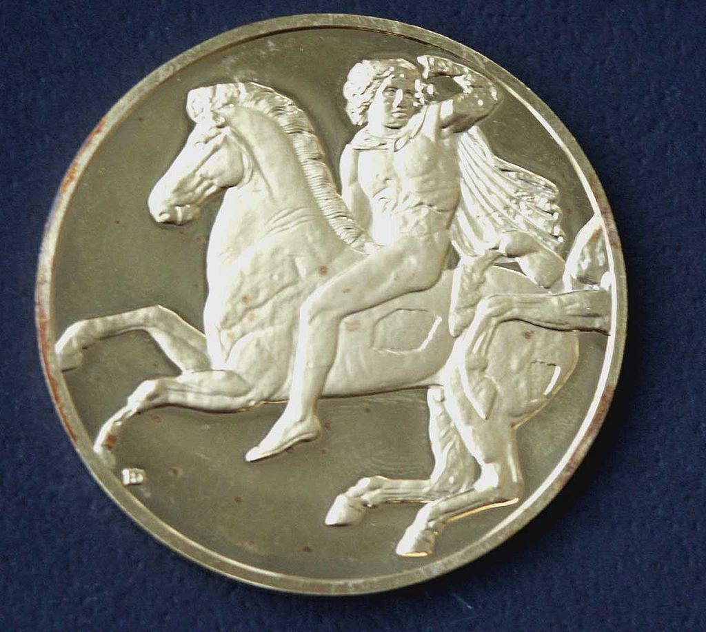 24K Gold Over Silver Medallion Greek Horseman 2. Oz.