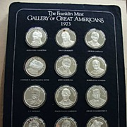 Gallery of Great Americans Franklin Mint 1973 12 Silver Rounds