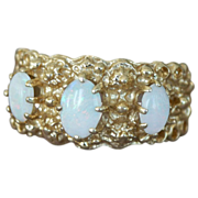 14K Gold Ring Band Three Opals