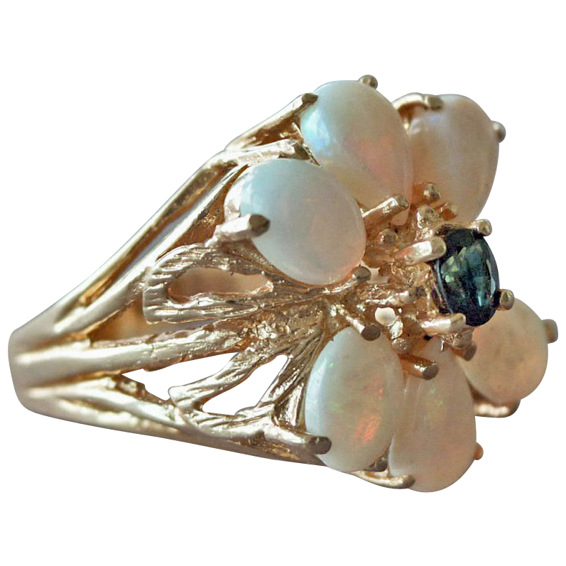 Ring Opal and Sapphire 14K Seven Grams Plus