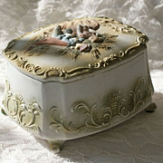 Bisque Porcelain Box Romantic Couple