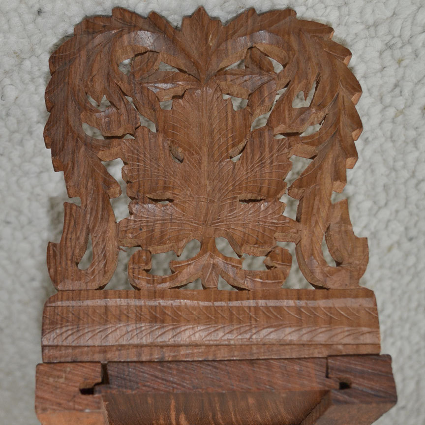 Carved Wood Book Slide Bookends