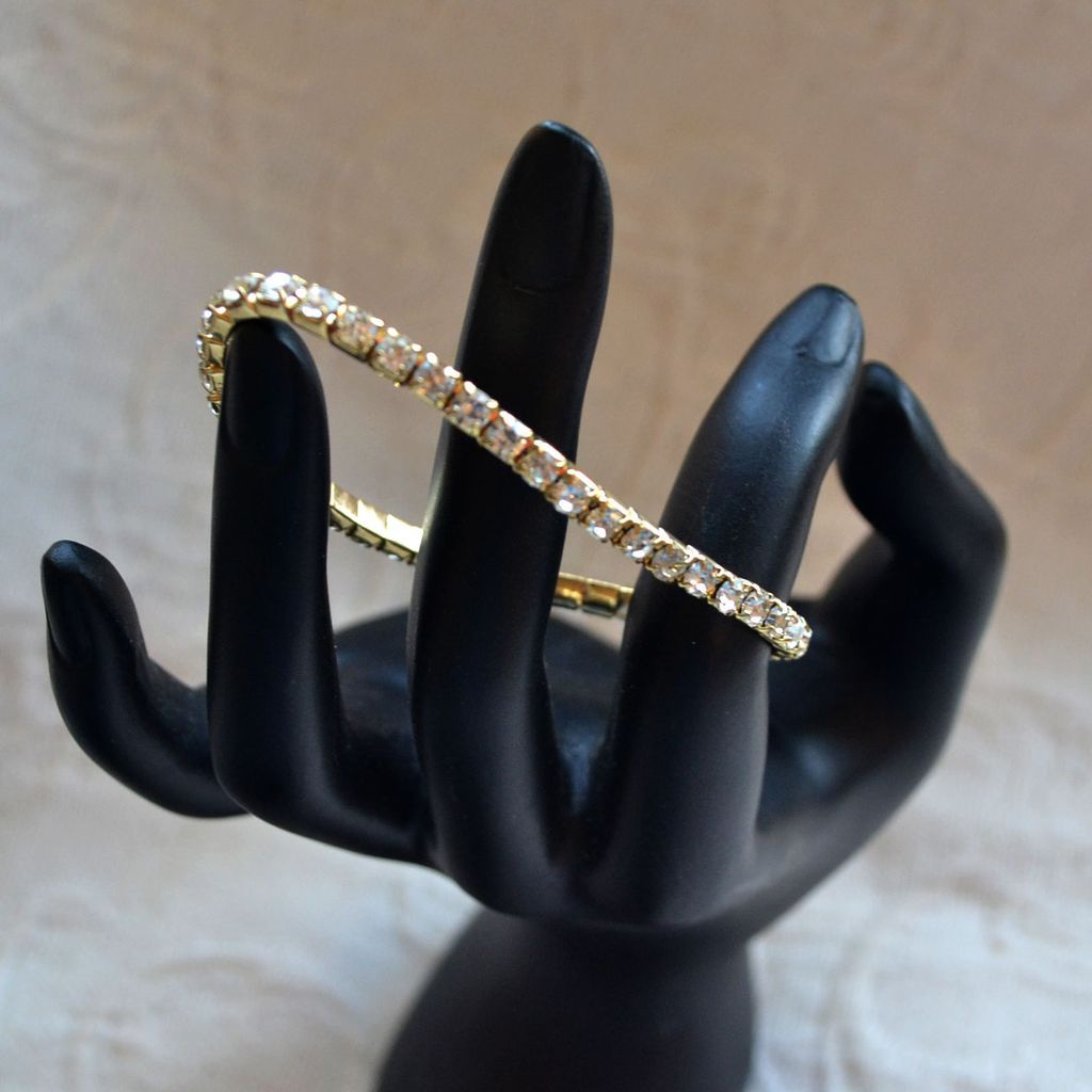 Quartz Crystal Rhinestone Expansion Bracelet