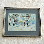 Winter Landscape Original Pastel Painting