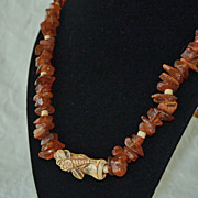 Natural Amber and Dragonfly Bone Necklace