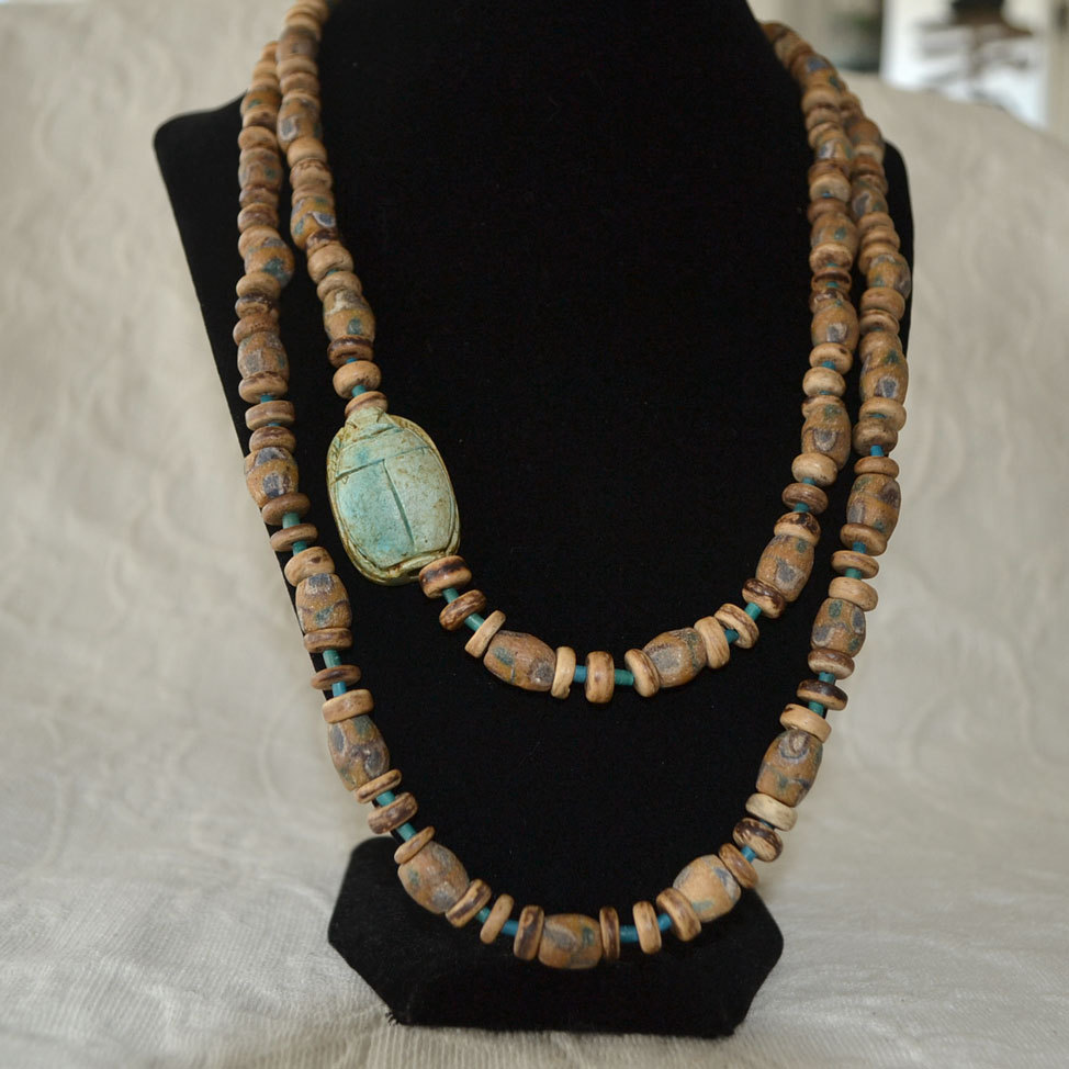 Scarab necklace trade and wood beads 44 inches sold on for Eurasia jewelry miami fl