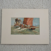 Old Original Water Media Marine Nautical Painting
