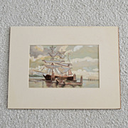 Original Nautical Painting Schooner Seascape