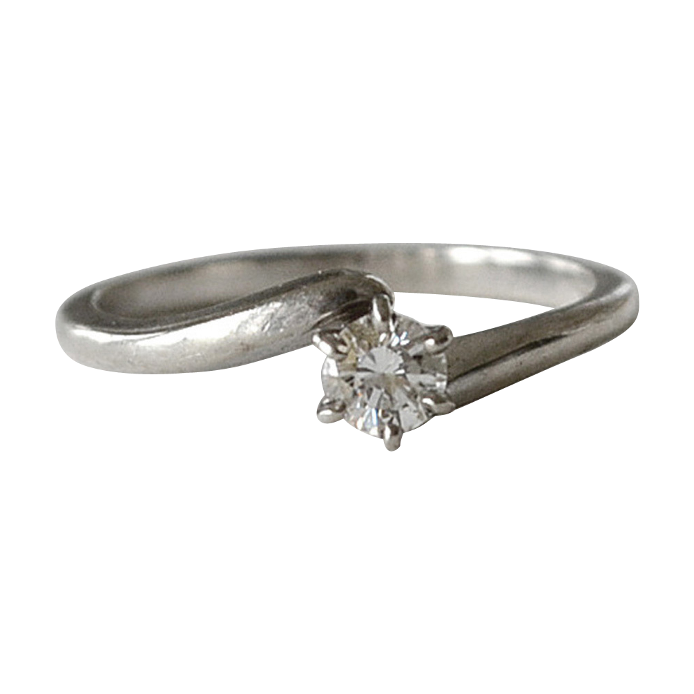 Diamond Solitaire Bypass Ring 14K White Gold