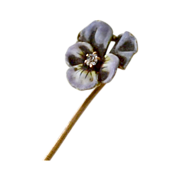 Antique 14k Gold Pansy Stick Pin  with Diamond